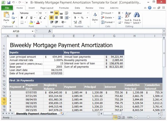 Biweekly Pay Schedule Template New Bi Weekly Mortgage Payment Amortization Template for Excel
