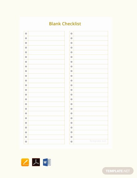 Blank Checklist Template Word Awesome Free Blank Checklist Template Word Pdf