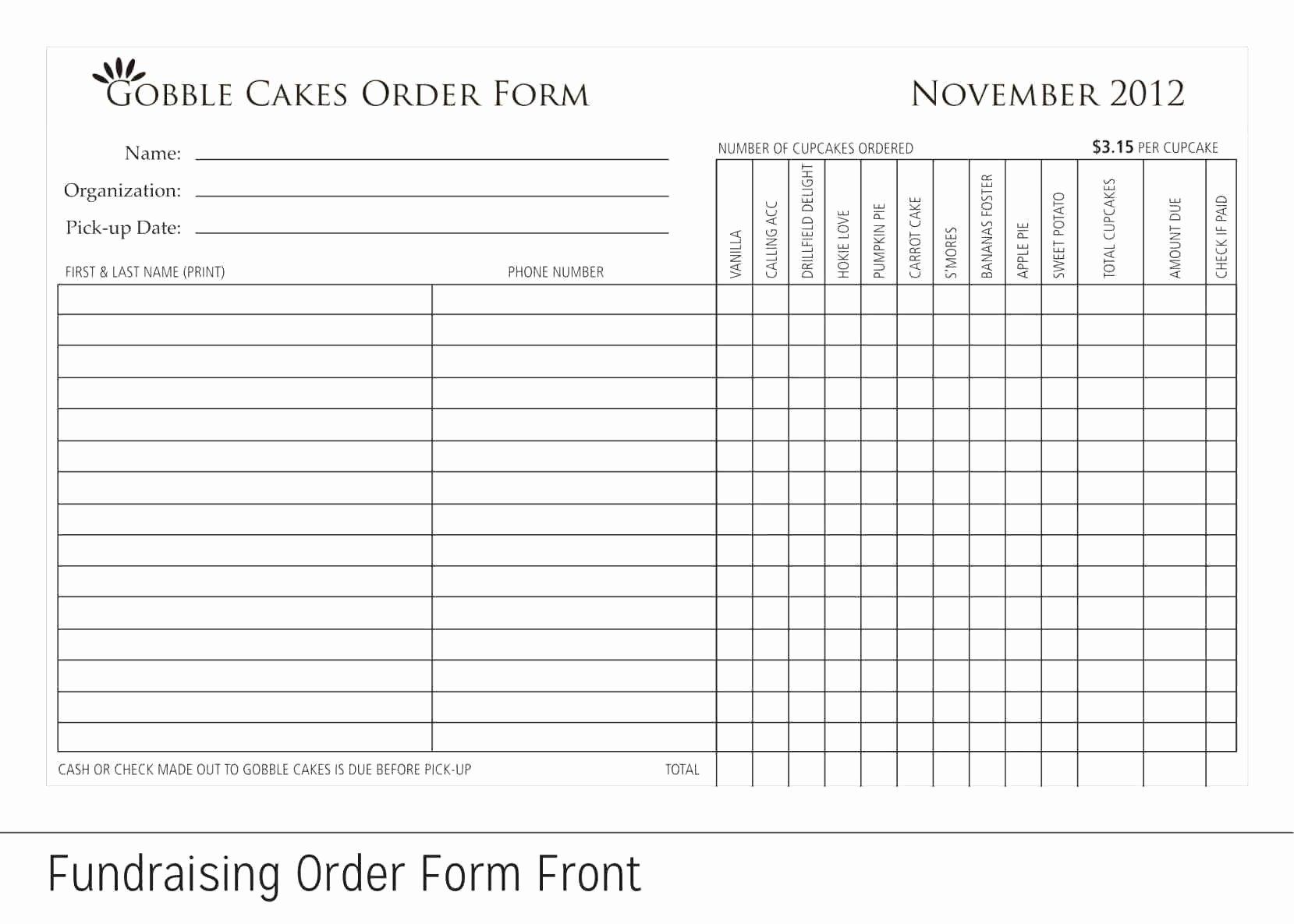 Blank Fundraiser order form Template Elegant Fundraiser order form order for Fundraiser order form