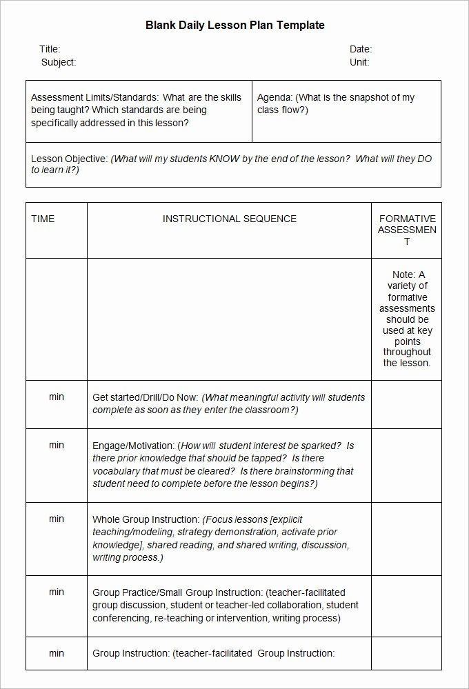 sample blank lesson plan templates free