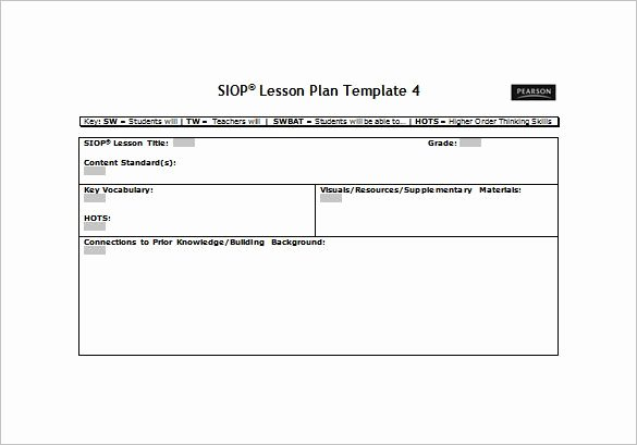 Blank Lesson Plan Template Pdf New Siop Lesson Plan Template Free Word Pdf Documents