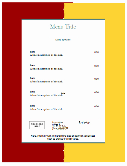 Blank Menu Template Free Beautiful Food Menu Template An Easy Way to Make A Food Menu
