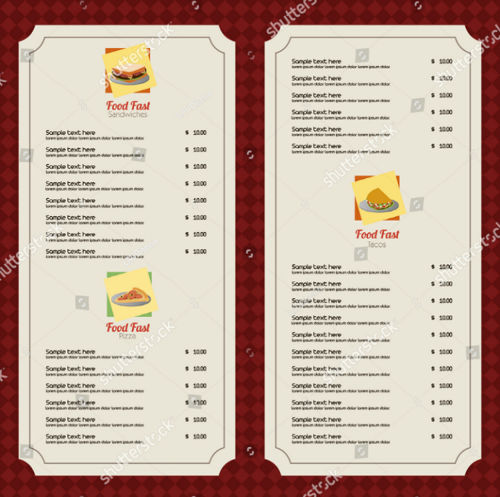 Blank Menu Template Free Lovely 30 Blank Menu Templates Ai Psd Docs Pages