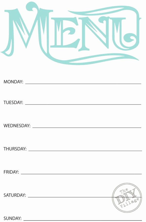 Blank Menu Template Free Luxury Free Printable Weekly Menu Planner