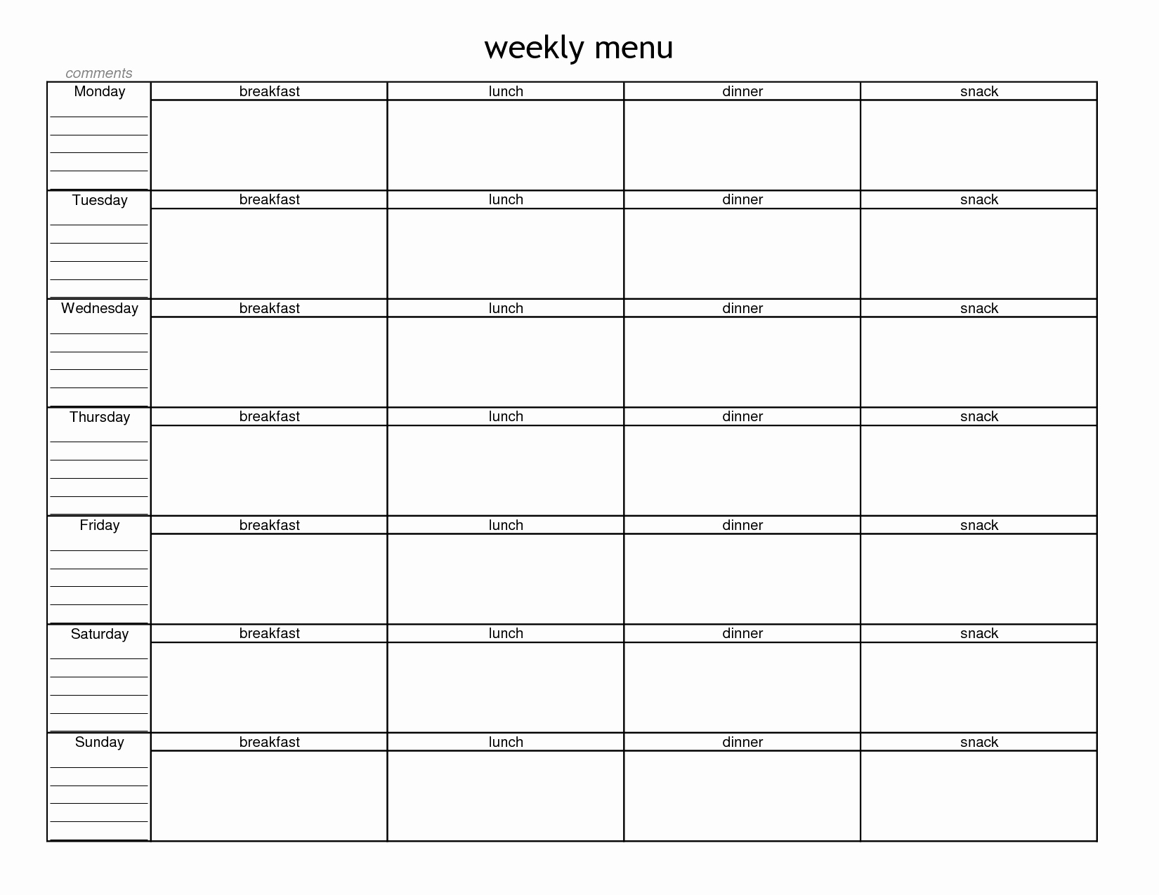 Blank Menu Template Free New Blank Weekly Menu Planner Template