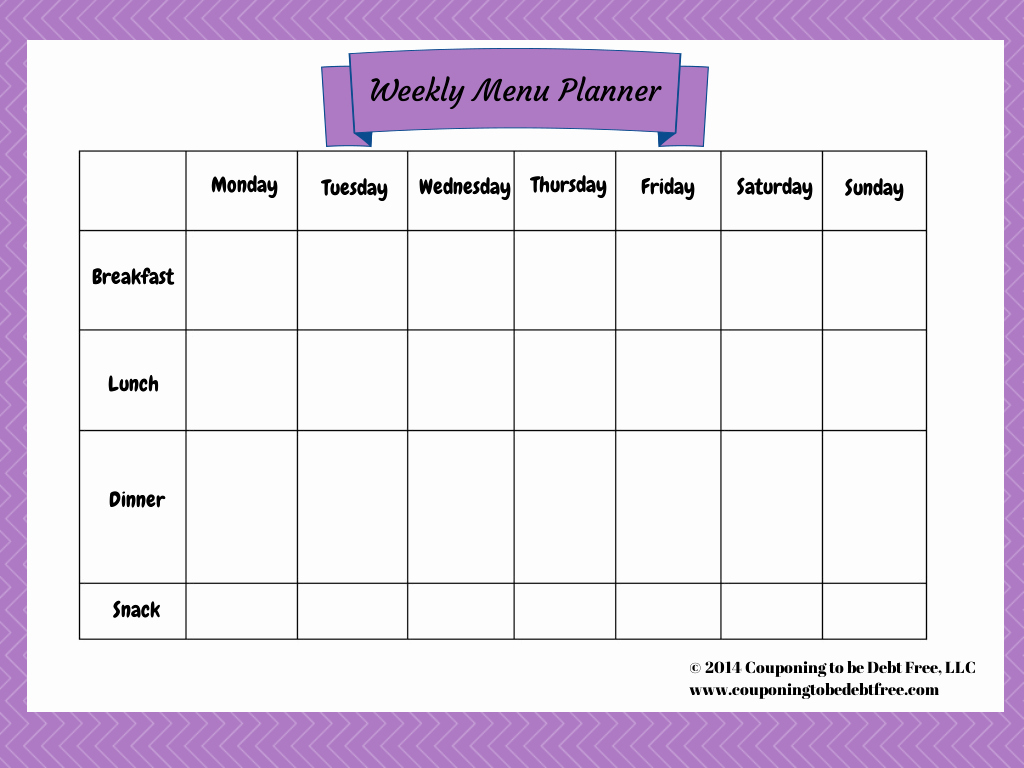 Blank Menu Template Free New Weekly Menu Planner Printable