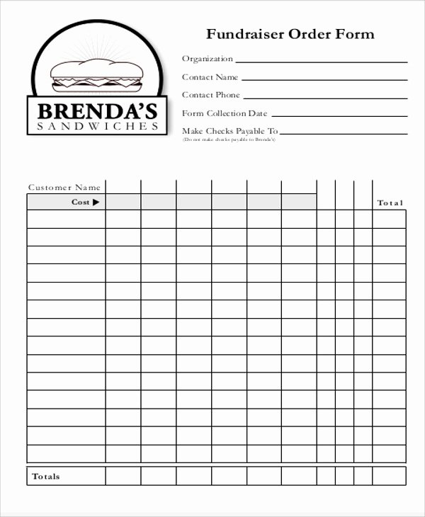 Blank order form Template Elegant Sample Fund Raiser order form 9 Examples In Word Pdf