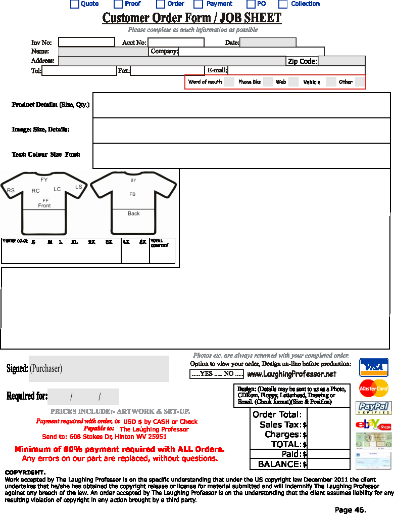 Blank order form Template Inspirational order form Template