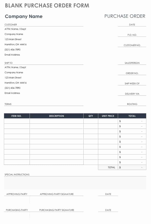 Blank order form Template Unique Free Purchase order Templates