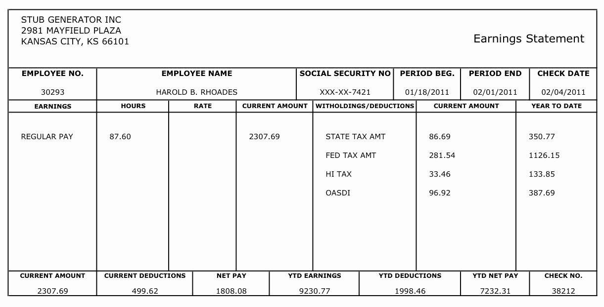 Blank Pay Stub Template Awesome Free Printable Blank Paycheck Stubs