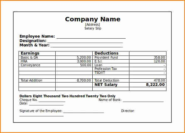 Blank Pay Stub Template Inspirational 8 Blank Pay Stub Template Free