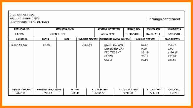 Blank Pay Stub Template Pdf Best Of 5 Fillable Pay Stub Pdf