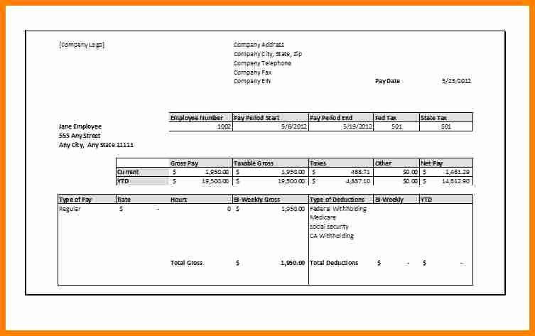Blank Pay Stub Template Pdf Elegant 8 Blank Pay Stub Template Free