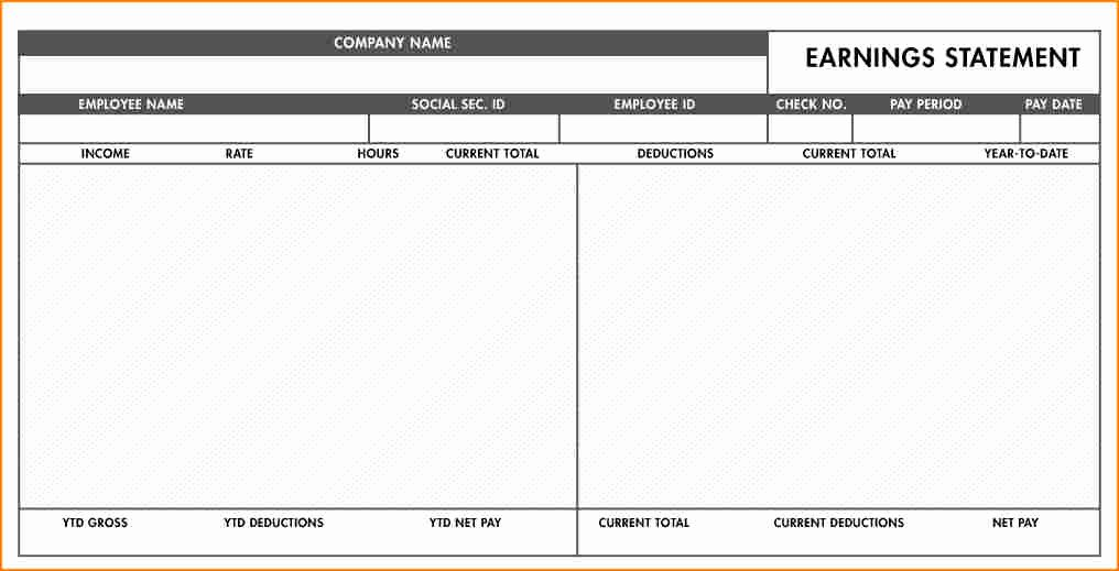 Blank Pay Stub Template Pdf Fresh 7 Pay Stub Template Excel