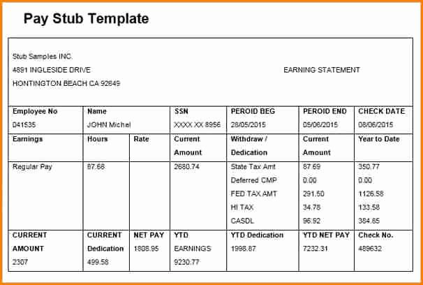 Blank Pay Stub Template Pdf New 6 Free Editable Pay Stub Template