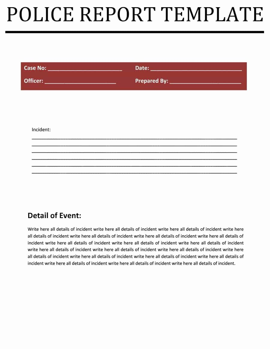Blank Police Report Template Beautiful Police Report Templates 8 Free Blank Samples Template