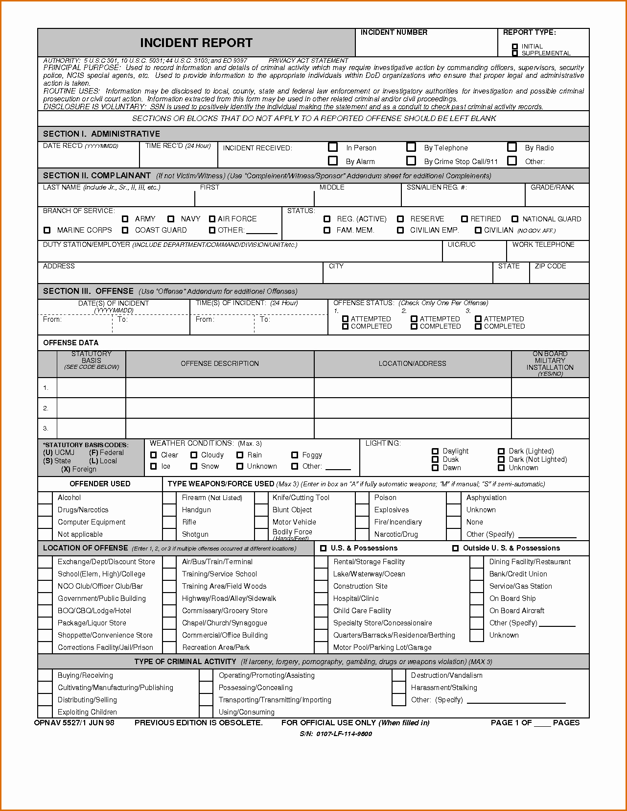 Blank Police Report Template Best Of 8 Blank Police Report