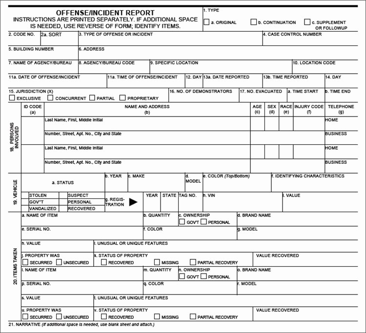 Blank Police Report Template Fresh Police Report Template
