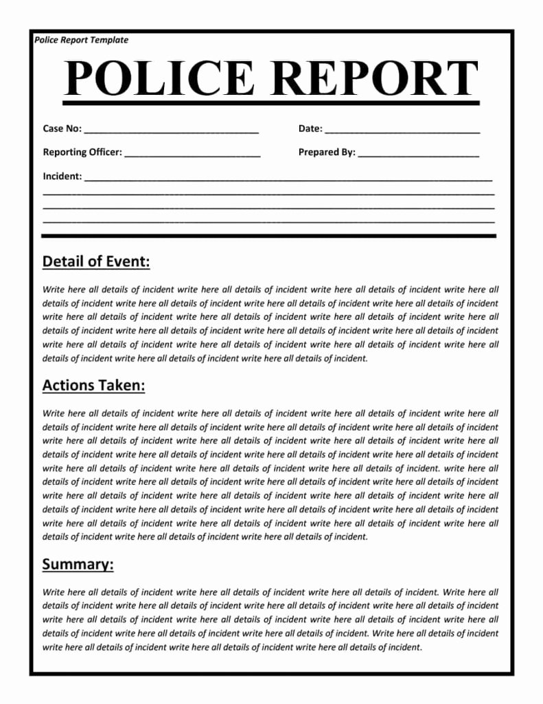 Blank Police Report Template Fresh Police Report Templates 8 Free Blank Samples Template