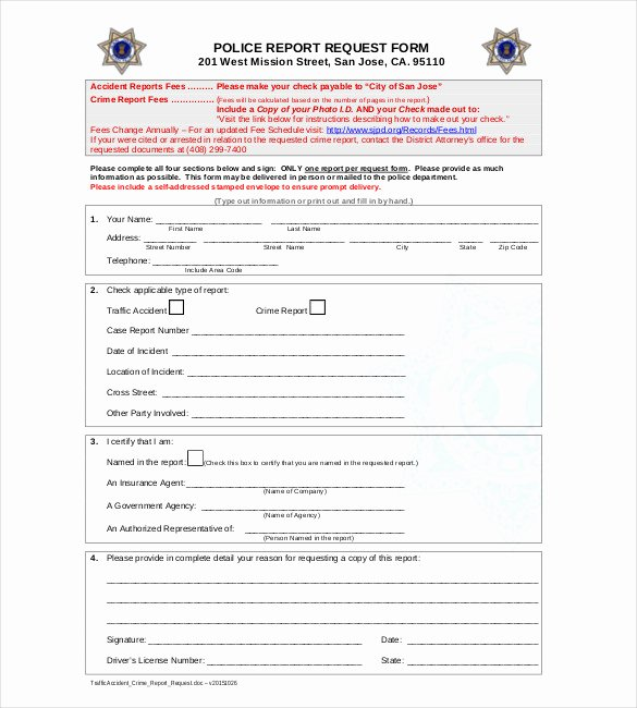 Blank Police Report Template Inspirational Sample Police Report Template 11 Free Word Pdf