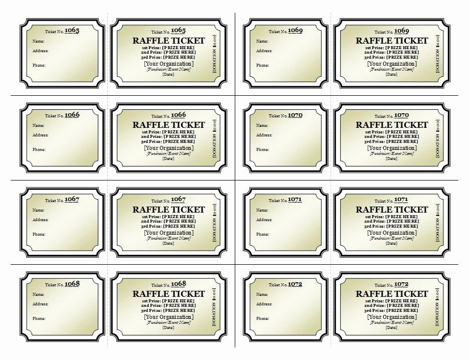 Blank Raffle Ticket Template Unique Raffle Ticket Template