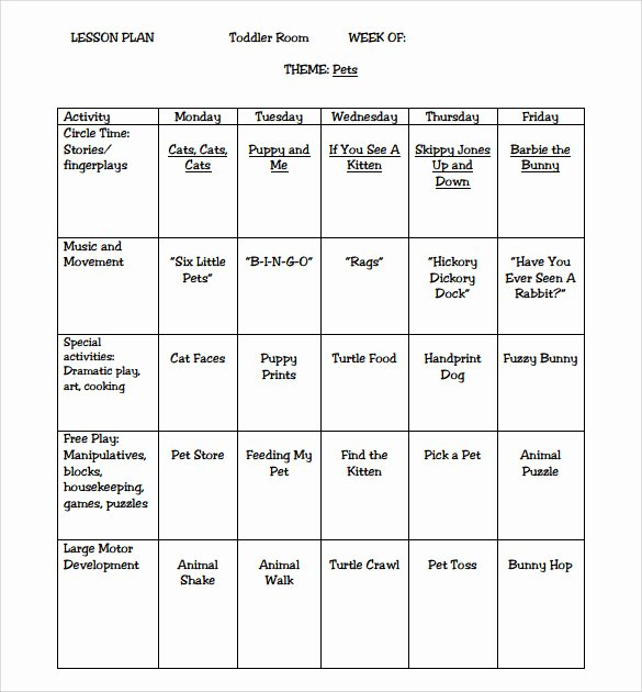 Blank toddler Lesson Plan Template Elegant Sample toddler Lesson Plan 9 Example format