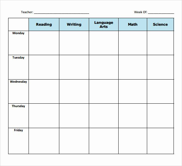 Blank toddler Lesson Plan Template Lovely Sample Blank Lesson Plan 10 Documents In Pdf