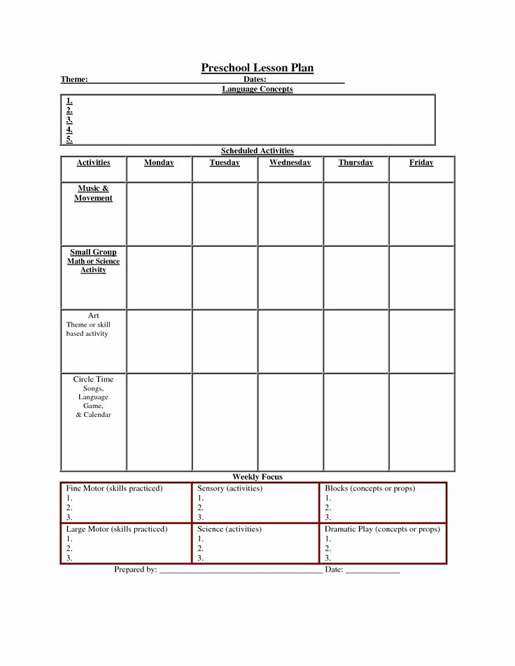 Blank toddler Lesson Plan Template Unique Printable Lesson Plan Template Nuttin but Preschool