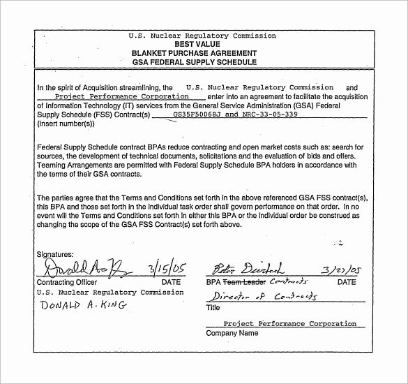sample blanket purchase agreement template