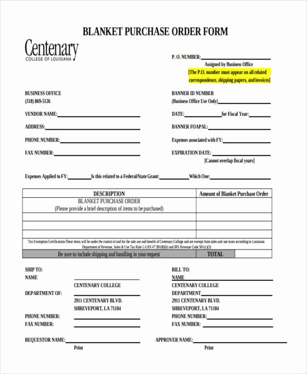 Blanket Purchase order Template Inspirational 11 Purchase order forms Free Samples Examples formats