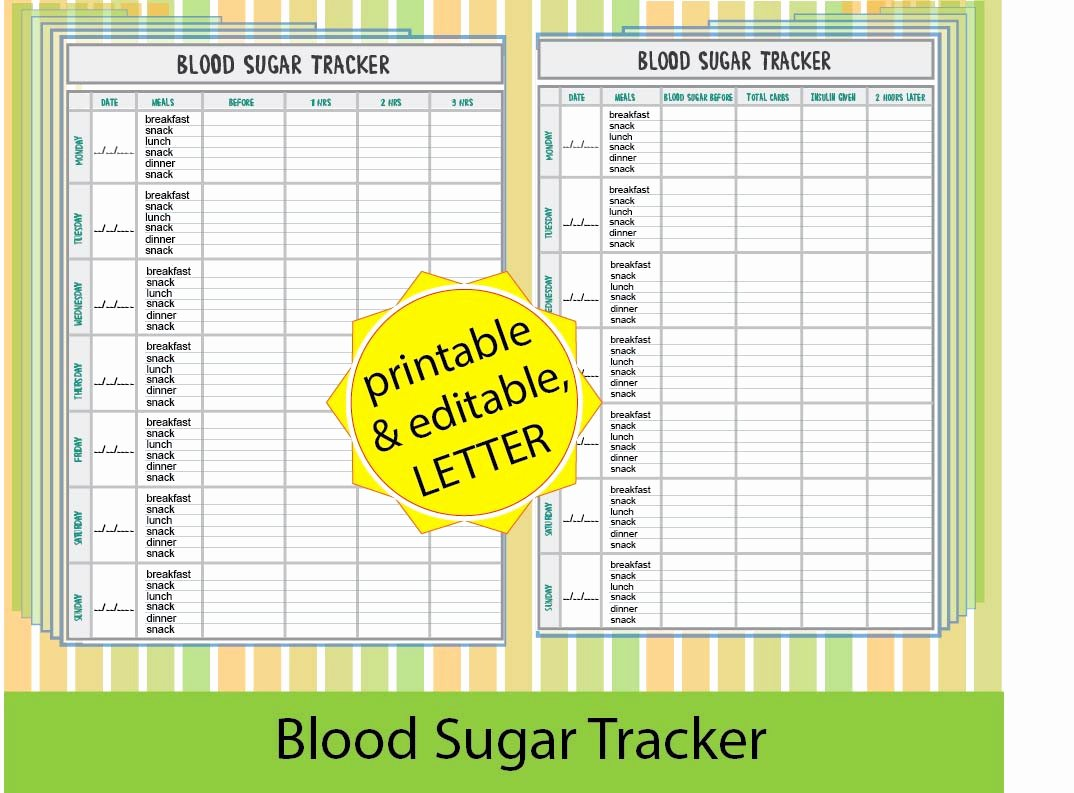 Blood Sugar Log Template Beautiful Blood Sugar Trackerblood Sugar Log Diabetic Printable