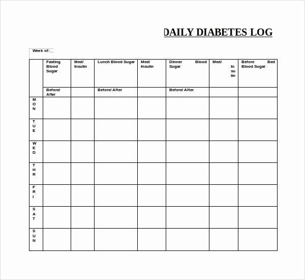 Blood Sugar Log Template Fresh Sample Blood Sugar Log Template 9 Free Documents In Pdf