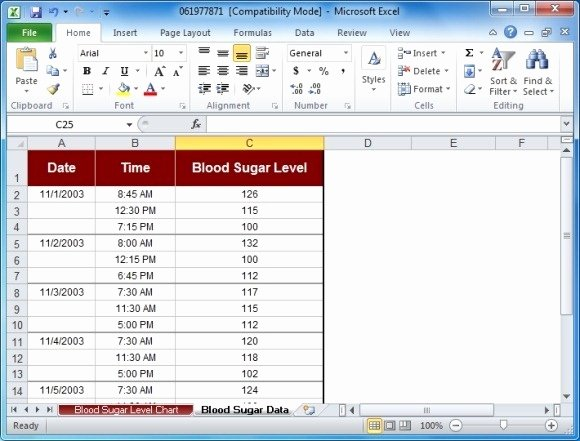 Blood Sugar Log Template Unique Blood Sugar Tracker Template for Excel