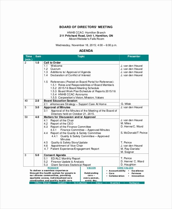 Board Meeting Agenda Template Awesome Board Of Directors Meeting Agenda Template – 8 Free Word