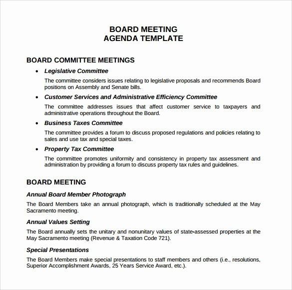 Board Meeting Agenda Template Elegant Board Meeting Agenda Templates