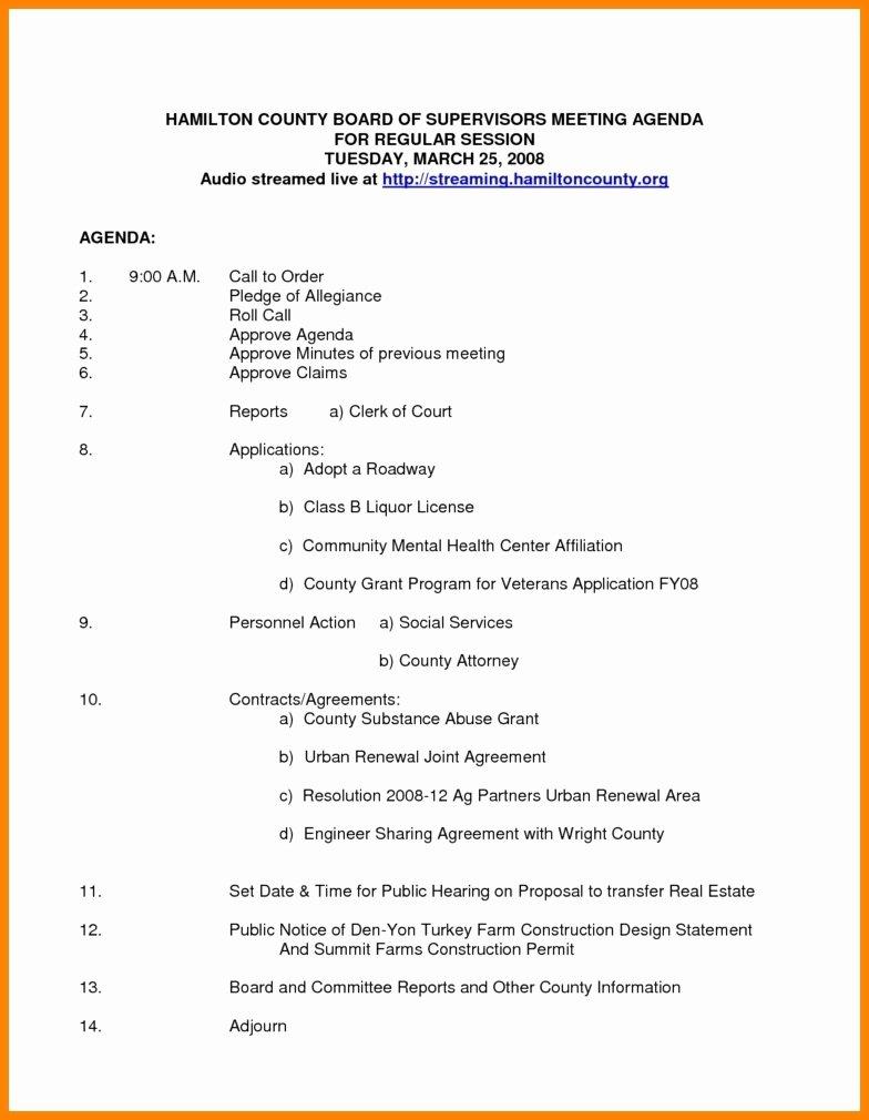 Board Meeting Agenda Template Elegant Nonprofit Board Meeting Agenda Template 2018