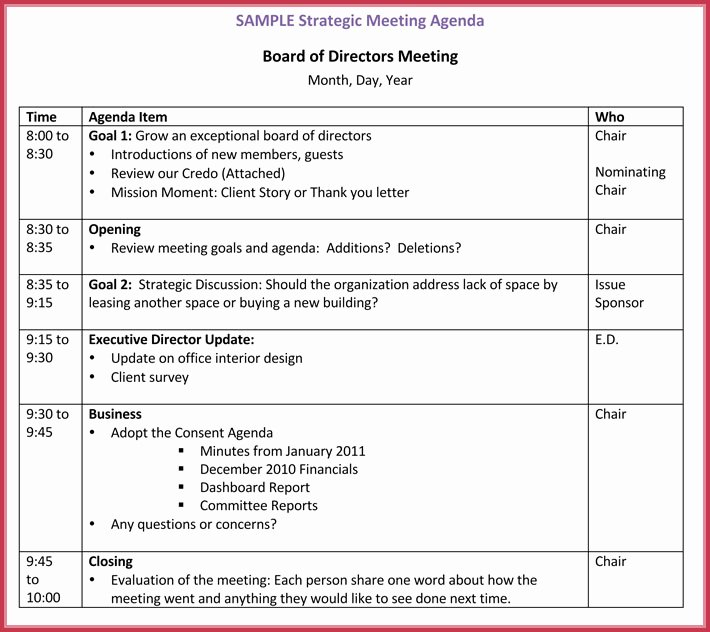 Board Meeting Agenda Template Fresh Board Meeting Agenda Template 10 Free Samples formats