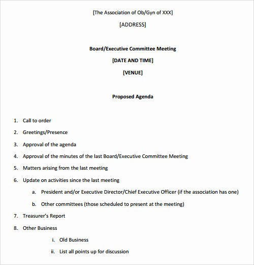 Board Meeting Agenda Template Lovely Sample Agenda Template 41 Download Free Documents In