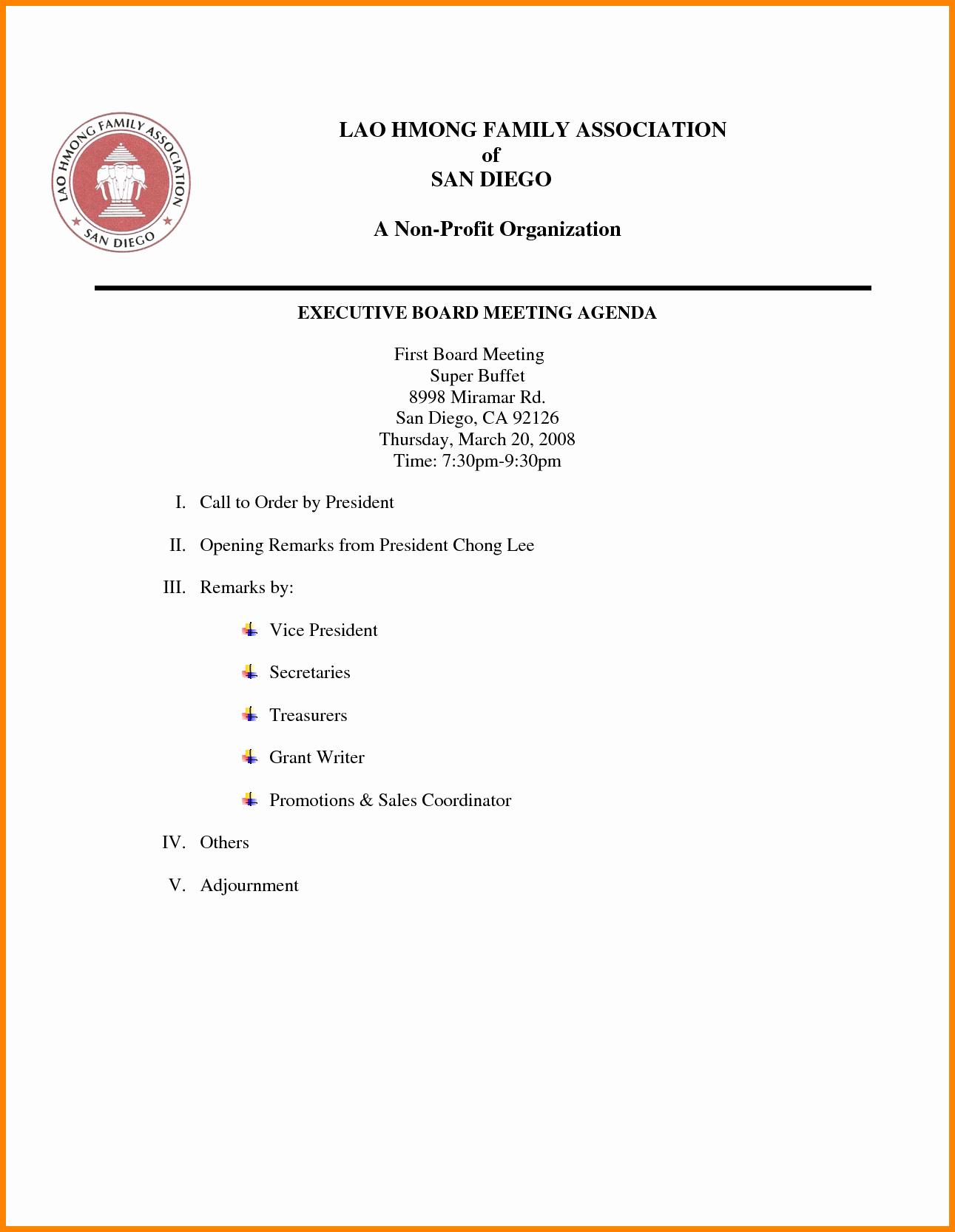 Board Meeting Agenda Template Luxury 24 Of Non Profit Board Agenda Template
