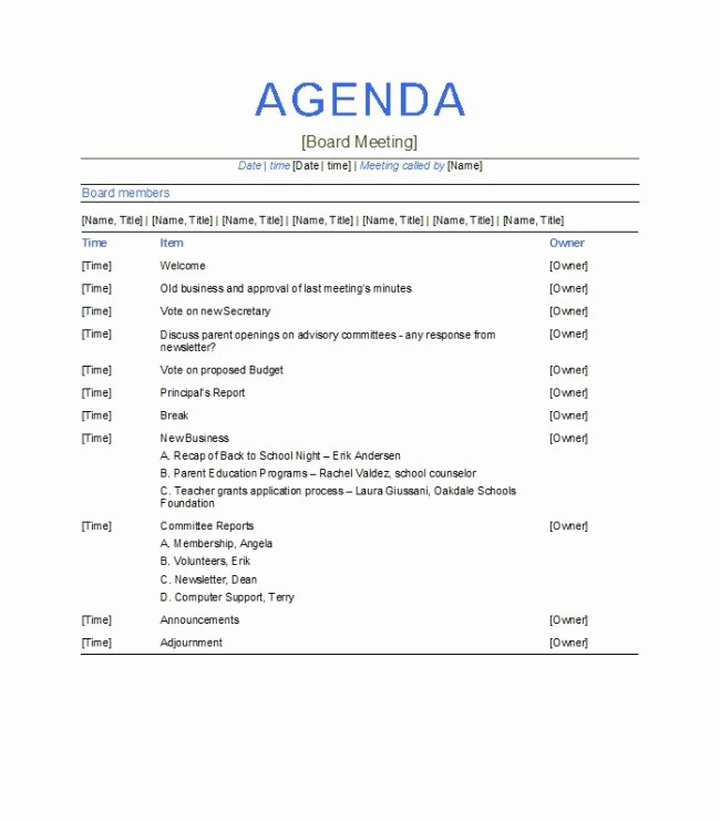 Board Meeting Agenda Template Luxury Excellent Agenda Board Meeting Template Example with