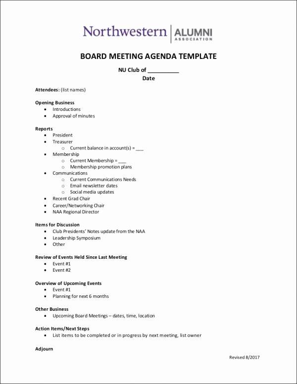 Board Meeting Agenda Template New 9 Board Agenda Samples & Templates Pdf Doc