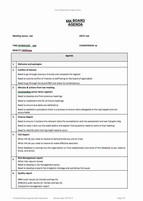 Board Meeting Agenda Template Unique Resources Archive Aboriginal Health Council