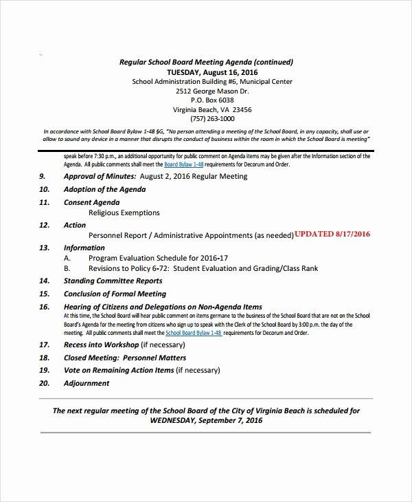 Board Meeting Agenda Template Unique Sample Board Meeting Agenda 7 Documents In Pdf Word