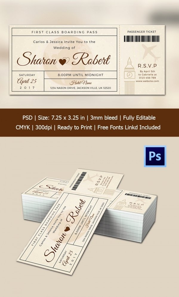 Boarding Pass Template Photoshop Best Of Boarding Pass Invitation Template 36 Free Psd format