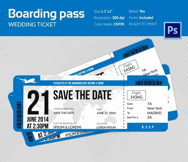 Boarding Pass Template Photoshop Elegant Boarding Pass Invitation Template 36 Free Psd format