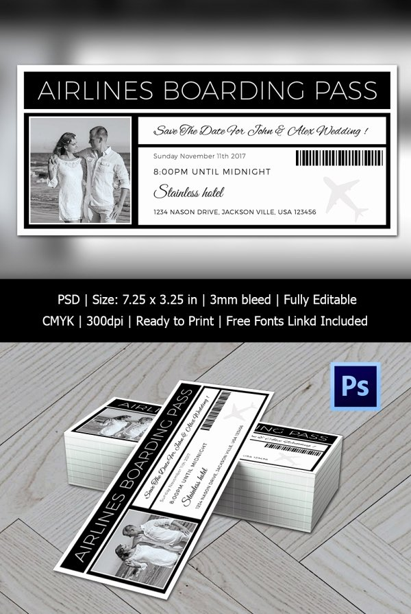 Boarding Pass Template Photoshop Inspirational Boarding Pass Invitation Template 36 Free Psd format