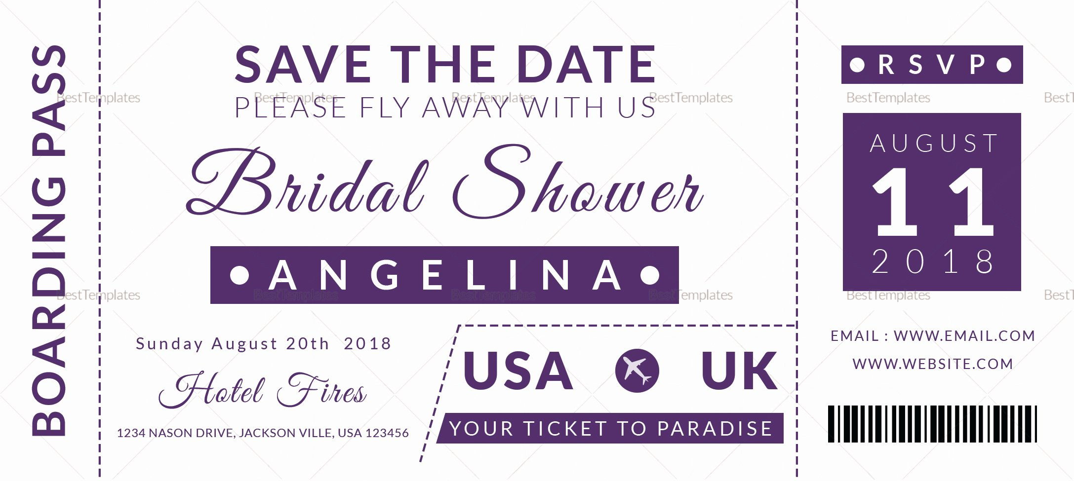 Boarding Pass Template Photoshop Inspirational Bridal Shower Boarding Pass Ticket Design Template In Psd