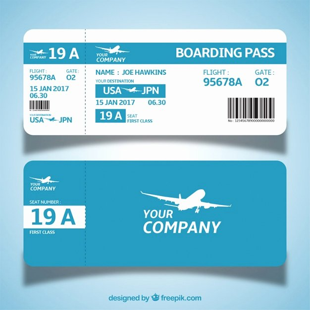 Boarding Pass Template Photoshop Lovely Blue and White Boarding Pass Template In Flat Design