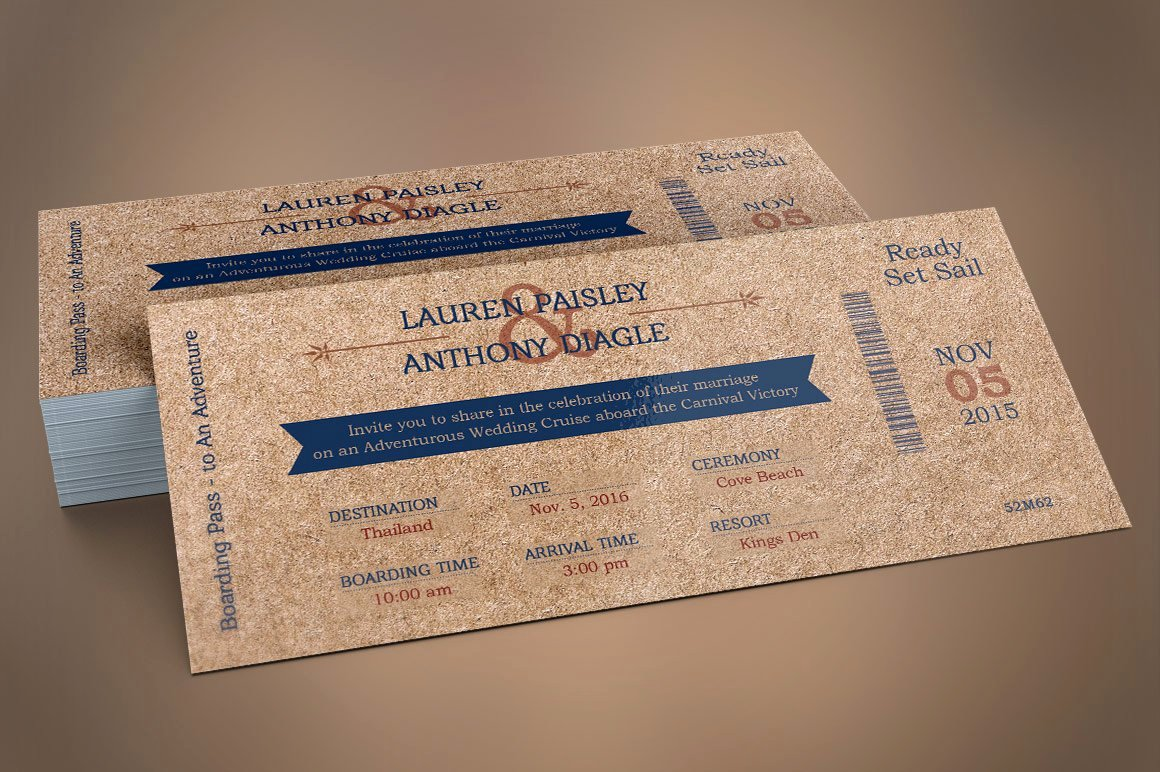 Boarding Pass Template Photoshop Lovely Cardboard Boarding Pass Invitation Wedding Templates