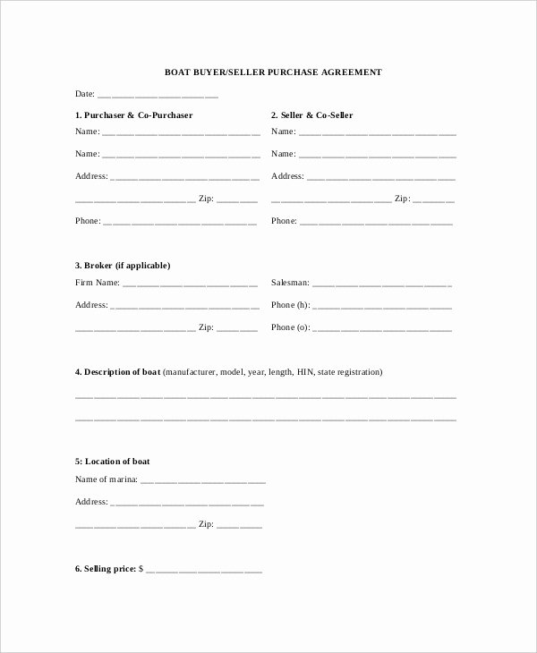 Boat Purchase Agreement Template Best Of 10 Sample Purchase Agreement forms Word Pdf Pages